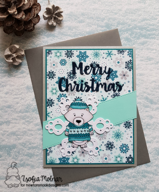 Merry Christmas by Zsofia features Sweater Weather stamp set by Newton's Nook Designs; #newton's nook