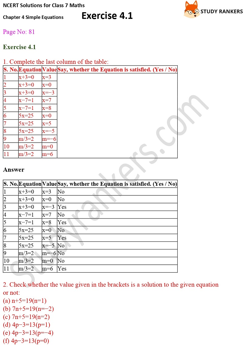 NCERT Solutions for Class 7 Maths Ch 4 Simple Equations Exercise 4.1 1