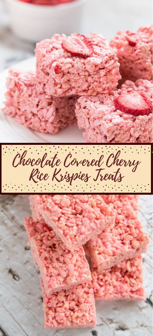Chocolate Covered Cherry Rice Krispies Treats #desserts #cakerecipe #chocolate #fingerfood #easy