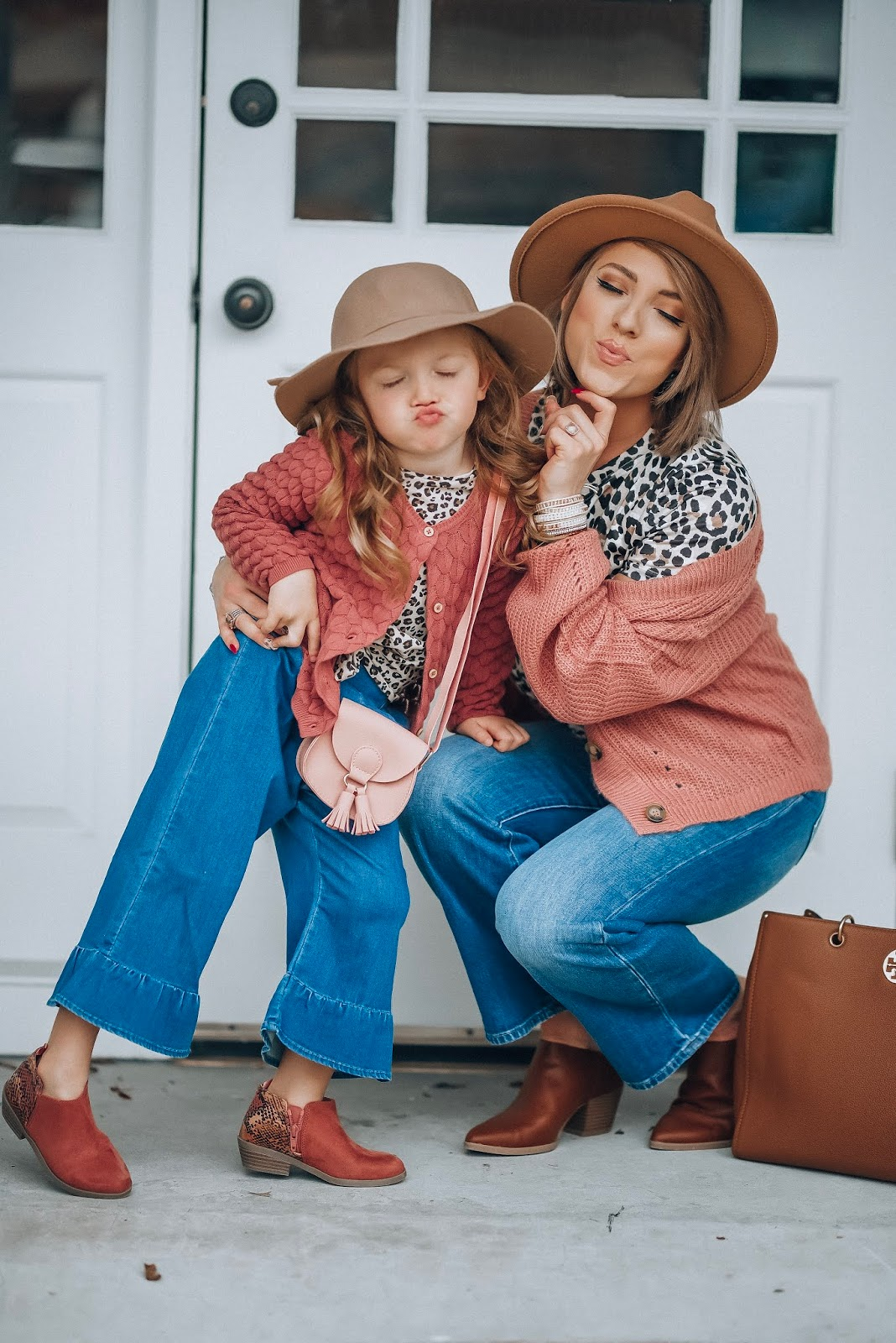 Mauve, Leopard and Flared Cropped Jeans - Mommy and Me Style Fall 2019 - Something Delightful Blog #fallstyle