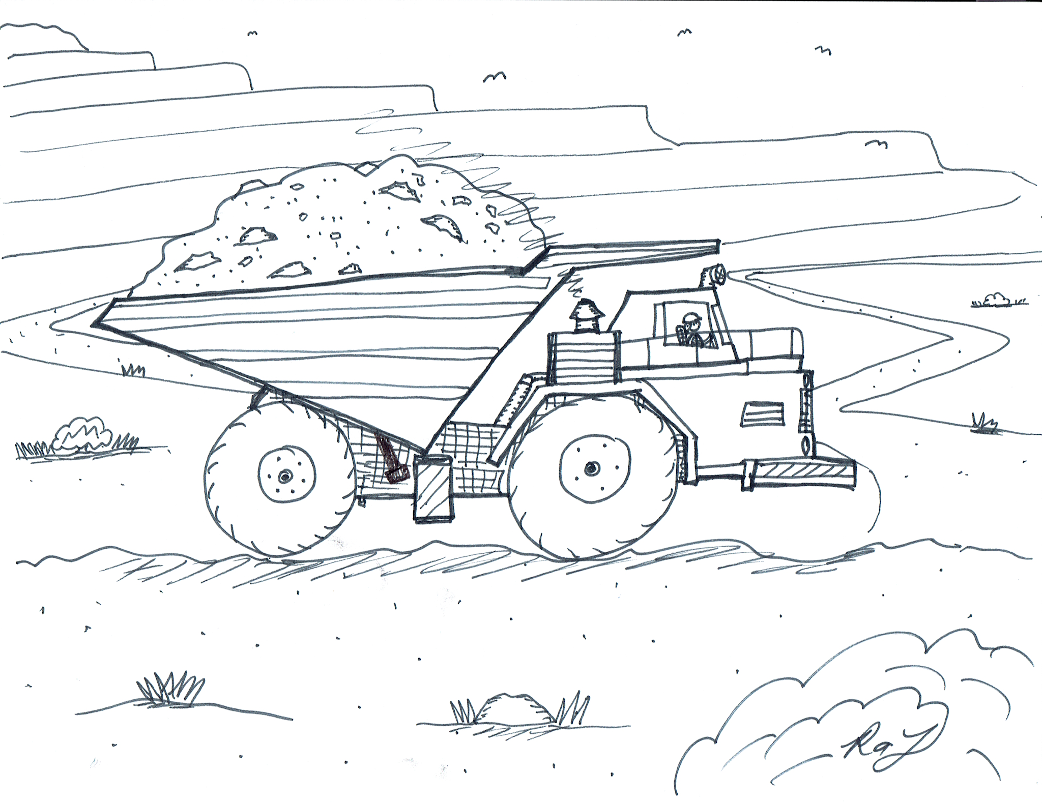 Robin S Great Coloring Pages Haul Truck Coloring Page