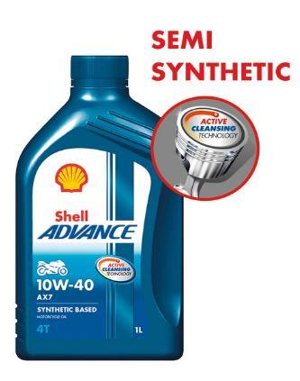 Shell Advance AX7 4T 10W-40 API SM Synthetic Technology Motorbike Engine Oil (1L)