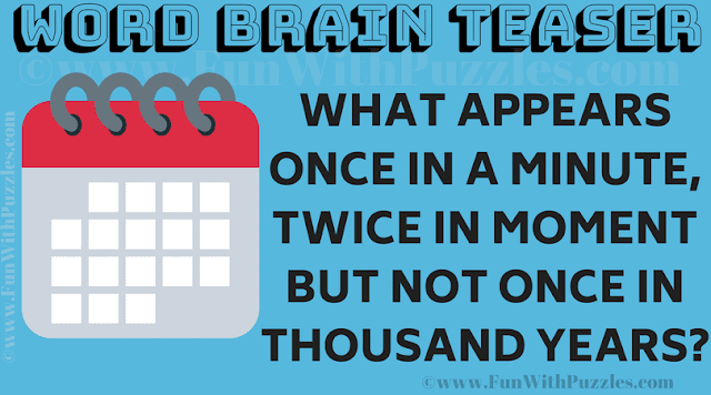 What appears once in a minute, twice in moment but not once in thousand years?