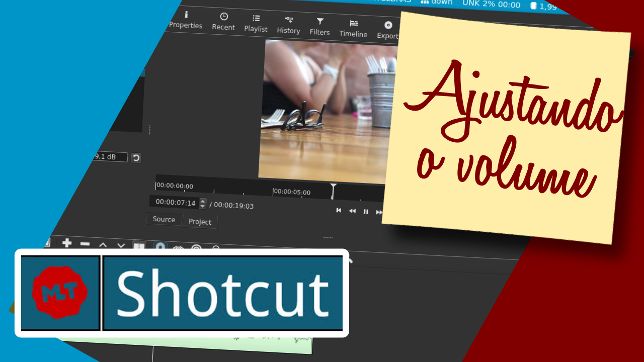 Imagem de capa do post: Shotcut - Ajustando o volume do som