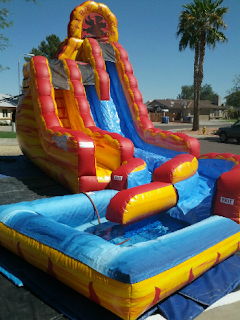 22 ft tall double lane fire and ice inflatable water slide