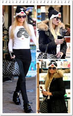 パリス・ヒルトン(Paris Hilton)は、アリスアンドオリビア (Alice + Olivia)のビーニー&セーター、フィリッププレイン (Philipp Plein)のスニーカーを 着用。