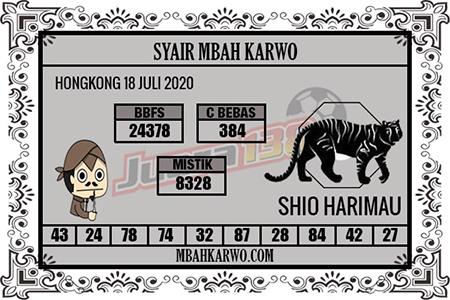 Syair Mbah Karwo HK Sabtu 18 Juli 2020