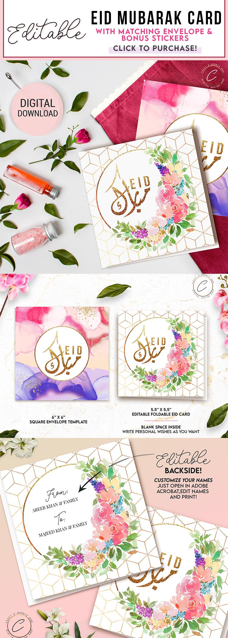 Customizable Elegant Watercolor Eid Card and Envelope by Craft A Doodle Doo #eidmubarakcard #editableidcard #eiduladha #freeeidprintable #eidwalldecor #eidwatercolordecor #cuteeiddecor #eiddecorideas #freepdftemplate