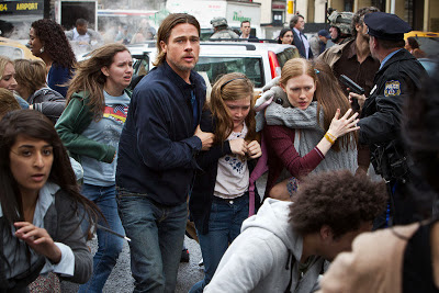 Brad Pitt and Mireille Enos in World War Z (2013) based on Max Brooks novel