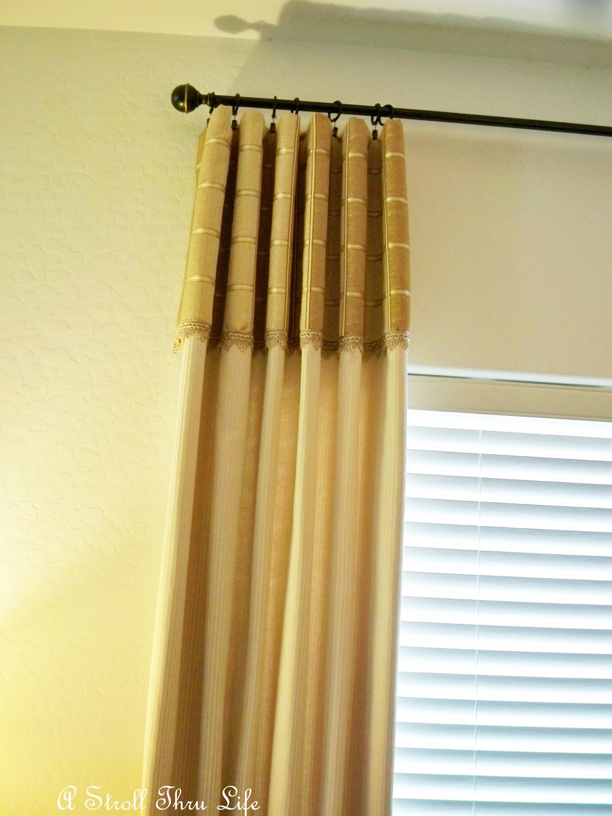 a stroll thru life hanging drapes for a professional look. Black Bedroom Furniture Sets. Home Design Ideas