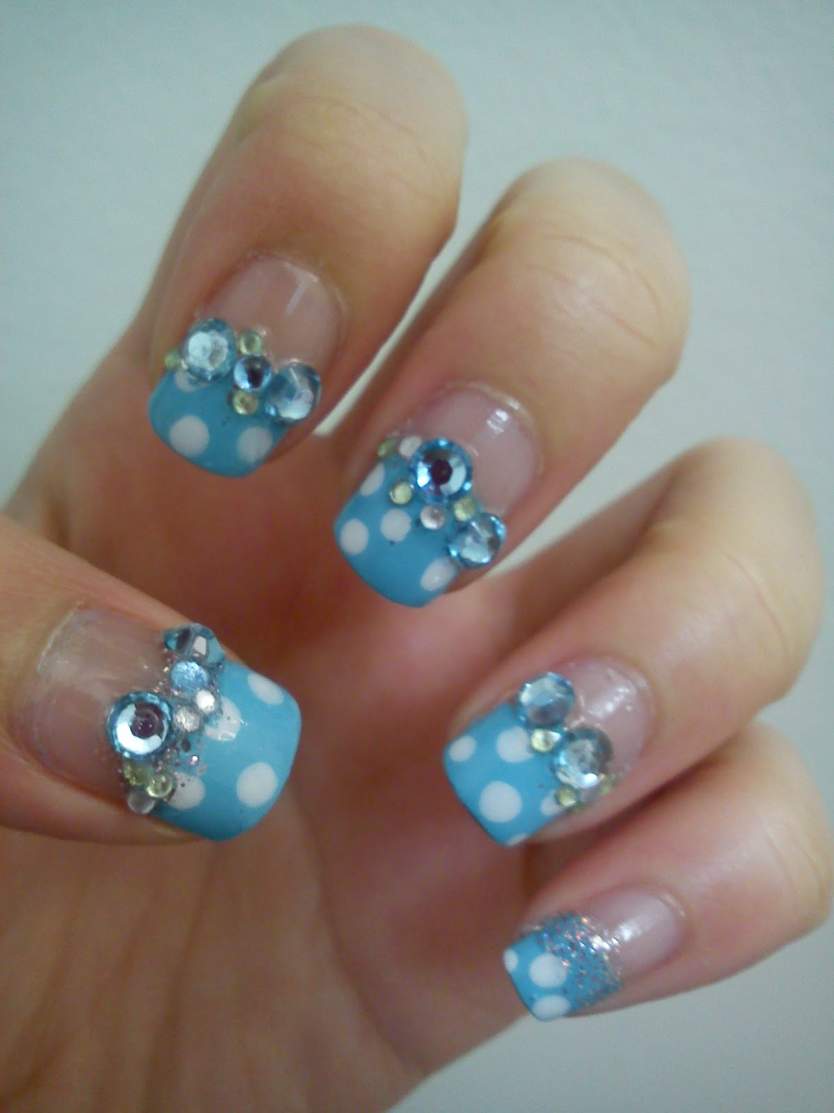 Light Blue Glitter Gel Nails – Papillon Day Spa