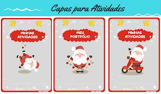 Capas para atividades e portfólios com Papai Noel para imprimir