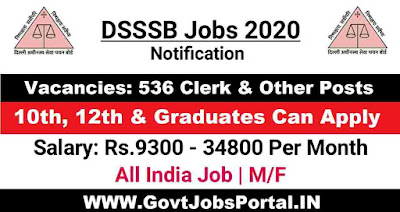 DSSSB Junior Clerk Recruitment 2020