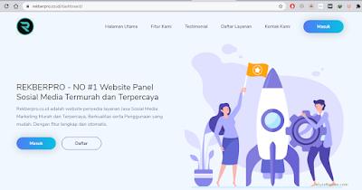 tampilan website rekberpro