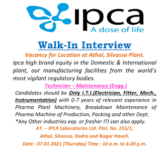 ITI Freshers And Experienced Candidates Job Vacancy For Maintenance, Technician  in IPCA Laboratories Ltd