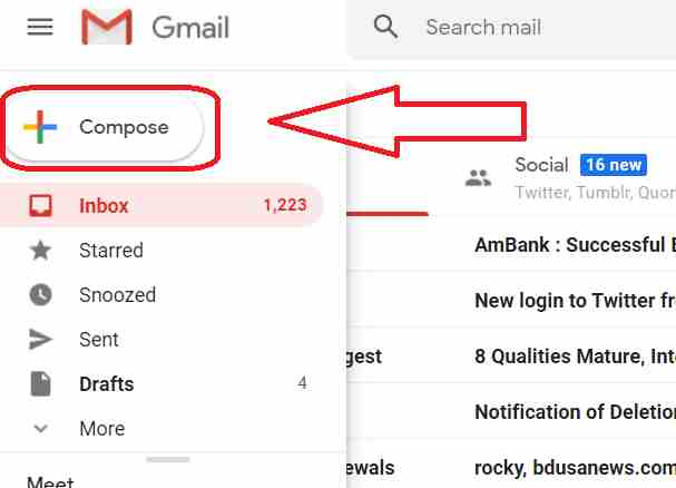 Click the Compose button to learn how to send an email. Clicking this button will open a new email template.