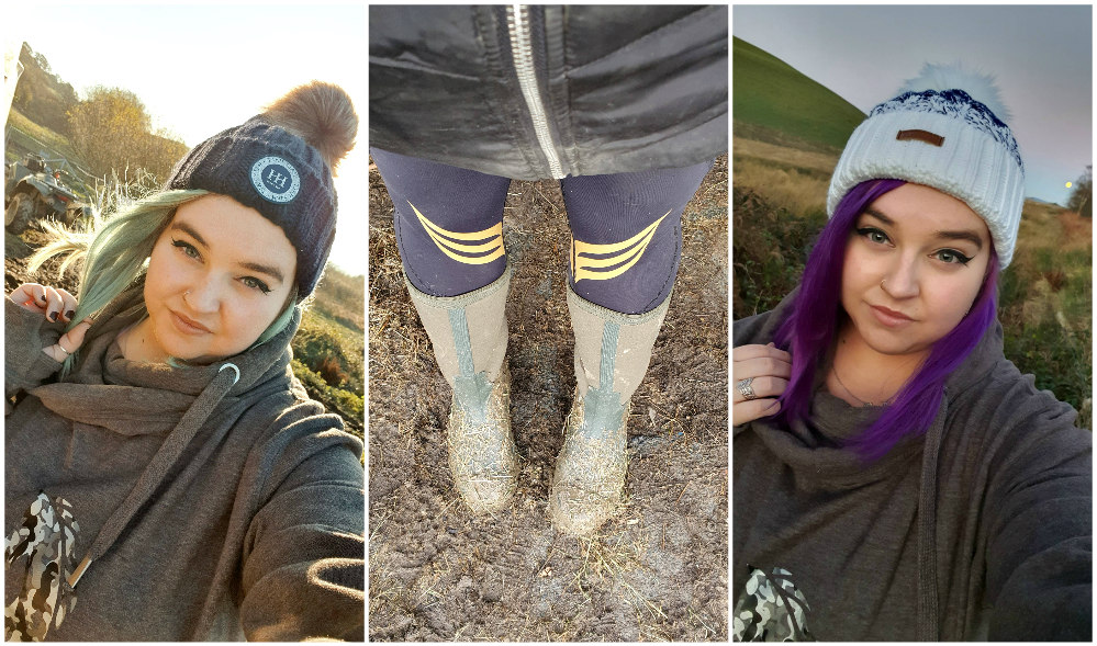 A blue haired girl wearing a navy bobble hat, Black and gold vivendi leggings and muck boot co wellies, A purple haired girl wearing a white and navy bobble hat