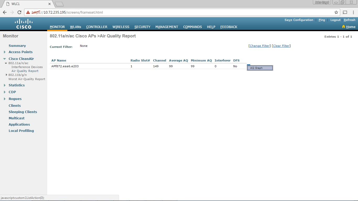 My CCNA Wireless Journal: Enabling Cisco CleanAir on a Cisco WLC