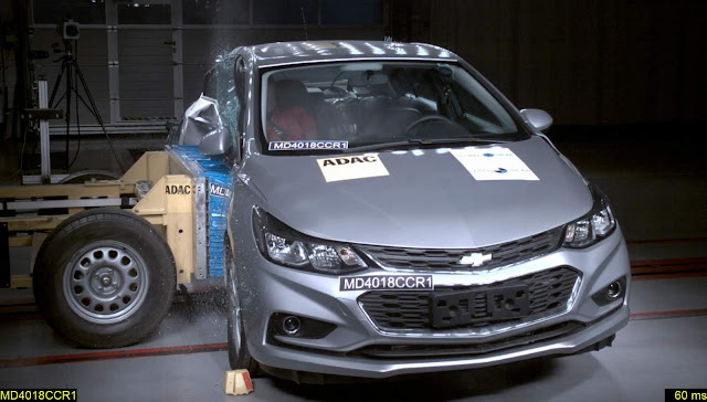 Chevrolet Cruze c/ 6 airbags obtém 9 estrelas - Latin NCAP