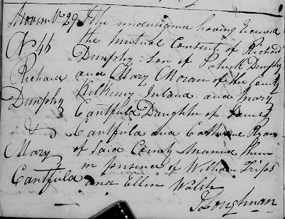 """""""Nova Scotia Church Records, 1720-2001,"""" database with images, FamilySearch (https://familysearch.org/ark:/61903/3:1:33SQ-GBC2-9JV?cc=1925428&wc=M6PF-CWL%3A219772701%2C219796201%2C219809001%2C219901401 : 21 May 2014), Halifax > Halifax > Catholic St Mary's Basilica > Marriages 1830-1843 > image 192 of 262; Catholic Church and Church of England parishes, Nova Scotia."""