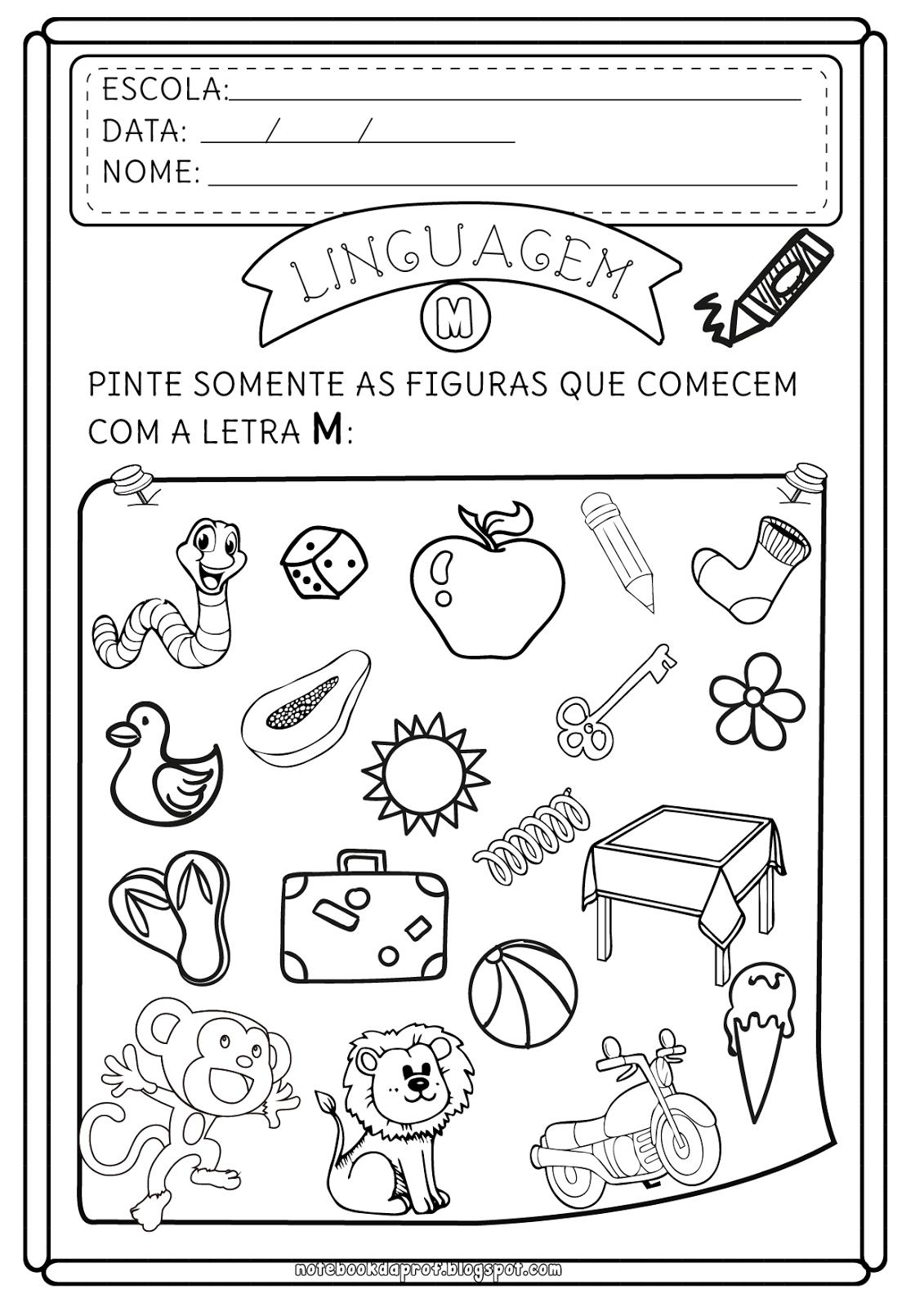 Notebook Da Profa Atividades Letra M Reconhecendo A