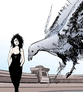 Mort/Death dans Sandman apparaît pendant que Rêve donne à manger aux oiseaux
