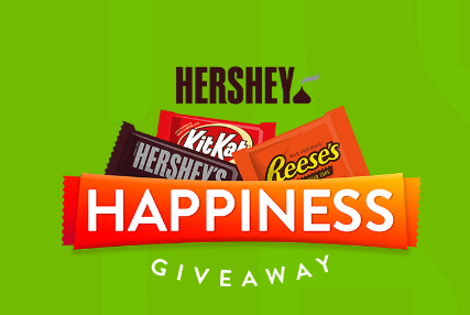 Hershey's is giving away happiness, in the form of FREE CHOCOLATE BARS! Enter daily for your chance to win up to $500 worth of candy!