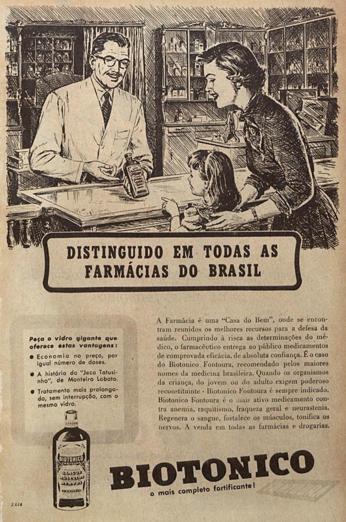 Propaganda antiga do fortificante Biotônico Fontoura veiculada em 1953
