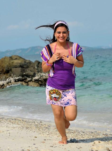 Actress Aksha Pardasany Sexy Stills in Purple Dress Navel Queens