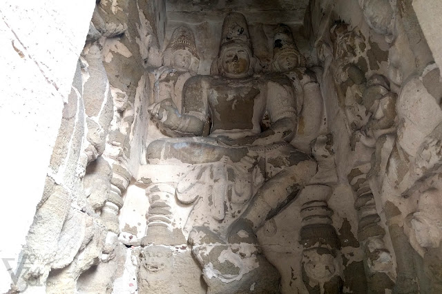 Large plastered sculpture of Shiva  in one of the sub-shrine adjoining the main-shrine