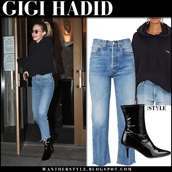 Gigi Hadid in black hoodie and cropped jeans re/done september 12 2017 streetstyle