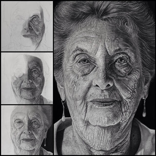 05-my-Grandmother-Justin-Cohen-Realistic-Portrait-Drawings-WIP-www-designstack-co