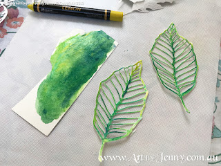painting leaves in behind the scenes of mixed media artwork featuring Mother Nature and the Earth by Jenny James