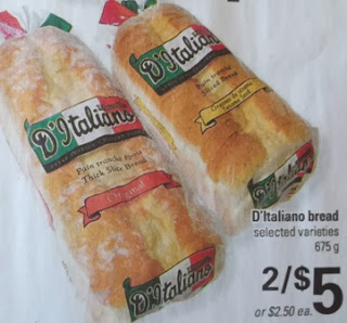 D'Italiano bread 675 g 2 for $5.00 or $2.50 each