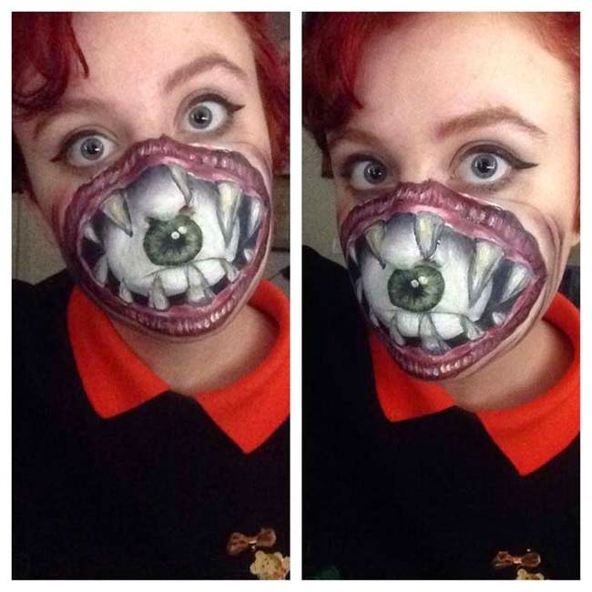 Creative But Horrified Womens Painting Her Face Is Very Creepy