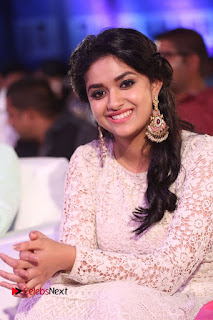 Actress Keerthi Suresh Pictures in Long Dress at Rail Movie Audio Launch  0018.JPG
