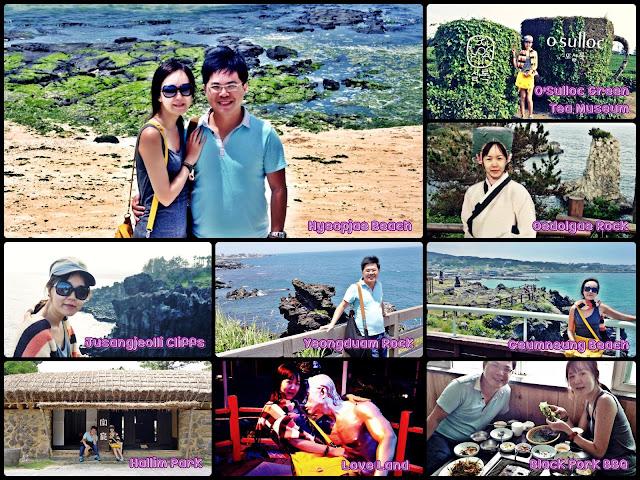 Jeju City (Just Jeju (Hallim Park, Hyeopjae Beach, Biyangdo Island,      Yeongduam Rock, Geumneung Beach, Jusangjeolli Cliffs, O'Sulloc Museum).