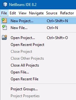 Open NetBeans, go to section top and select File->New Project