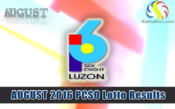 August 2016 6-Digit PCSO Lotto Results