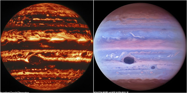 See Jupiter like never before: Incredible infrared images show the giant planet's churning atmosphere beyond what we can see with the human eye