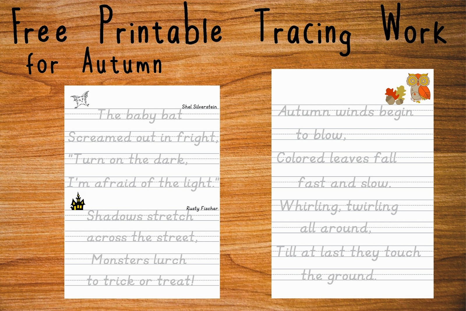 Autumn Themed Poetry Tracing Work Sheets Printable Paper