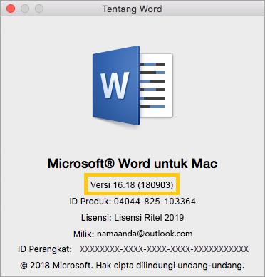 cara mengetahui versi microsoft office di macbook