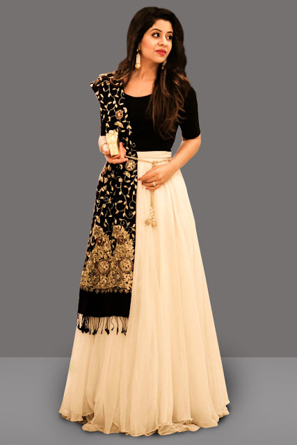 Awesome Black and Cream Lehenga Choli, Black and Cream Lehenga Choli with Dupatta