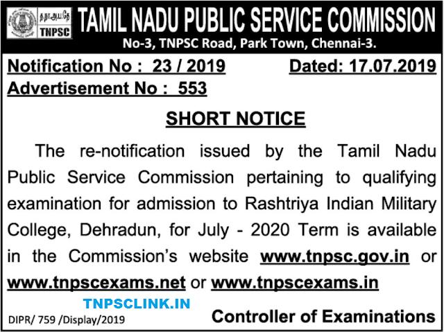 TNPSC Pertaining to Qualifying Exam for Admission to Rashtriya Indian Military College Dehradun, July 2020