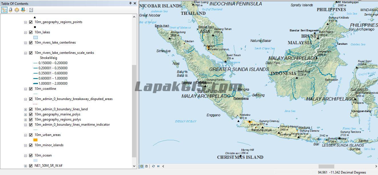 Portabel Peta Natural Earth dengan Arcmap-GQIS Format SHP