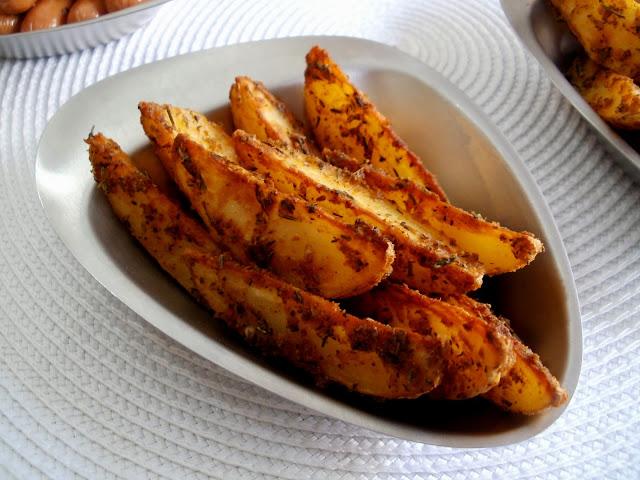 Gajos de papas especiadas al horno