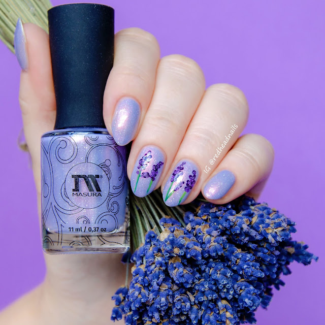 Lavender hand painted nail art