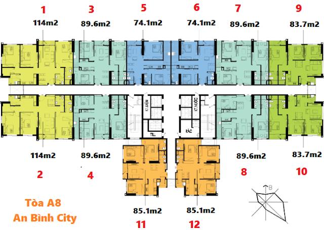 Mặt bằng tòa A8 Chung cư An Bình City
