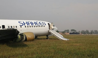 LAHORE: At least 10 passengers were injured as the tyre of a domestic Shaheen Air International flight burst during an emergency landing at Allama Iqbal International Airport on Tuesday