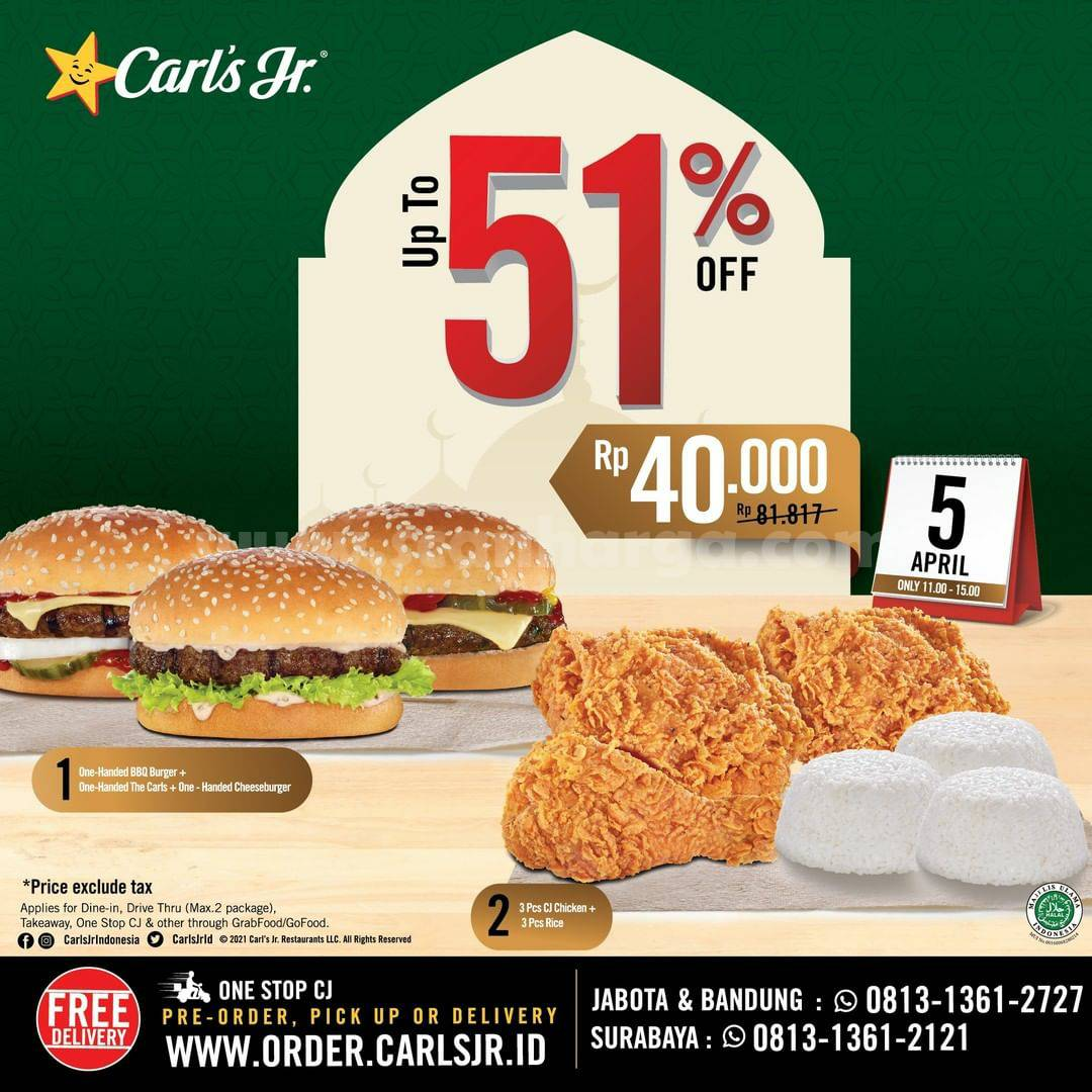 Promo Carls Jr Diskon 51% Periode 5 April 2021